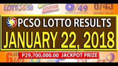 PCSO Lotto Results - January 22, 2018 | 6/55, 6/45, 4D, SWERTRES & EZ2 L... Lotto Results, January 2018, December 26, July 24, Youtube, Youtubers, Youtube Movies