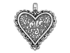 Antique Silver-Plated Pewter Scrolled Bezel Heart Pendant