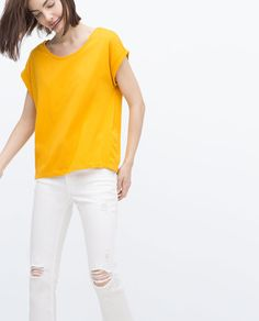 ZARA - WOMAN - ROLL-UP SLEEVE T-SHIRT