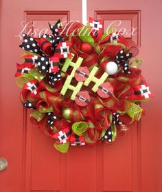 Ho Ho Ho deconmesh red wreath with polka dot accents