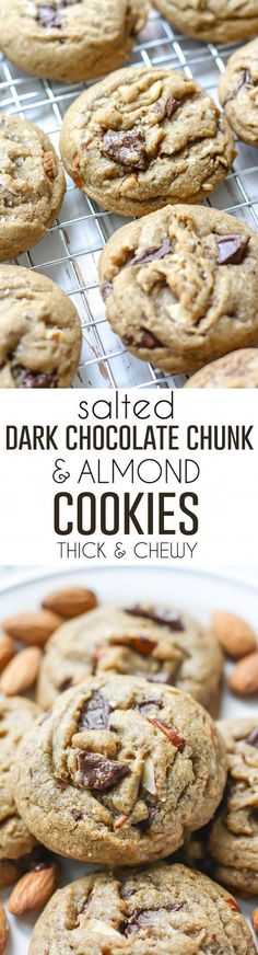 Thick, chewy, rich with flavor, just the way cookies should be! These Salted Dark Chocolate Chunk & Almond Cookies have the best texture.