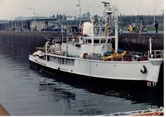 The oceanographer Jacques-Yves Cousteau ship's Calypso in St. Lambert Lock in 1982.