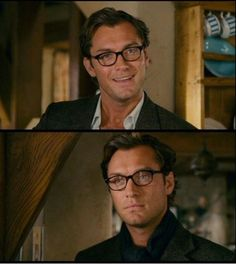 Completely obsessed with Jude Law& glasses in The Holiday. I went home and wrote in my journal that I wanted my husband to wear glasses just like Jude Law. Jude Law, Love Actually, Holiday Movie, Christmas Movies, Raining Men, Kaiser, Attractive Men, Man Crush, Gorgeous Men