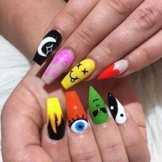 Edgy Nails, Grunge Nails, Funky Nails, Swag Nails, Halloween Acrylic Nails, Best Acrylic Nails, Hippie Nails, Hippie Nail Art, Nagellack Design