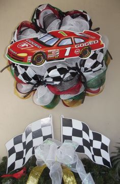 Deco mesh wreath made for Daytona 500 Feb. 2013