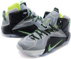 Nike LeBron 12 Dunk Force Dark Magnet Grey Magnet Grey-Electric Green For Sale1