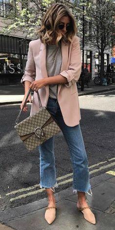 Emma Hill + blazer + playful shade of pale pink + roughly cut-off denim jeans + grey tee + pastel coloured flats   Bag: Gucci, Shoes: Revolve, Blazer: Zara.