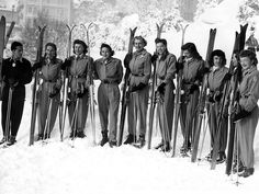The U.S. women's ski team shows off their stylish uniforms at the 1948 Games in snowy St. Moritz, Switzerland.