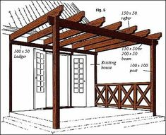 How to build a #pergola attached to house.  I would love to do this someday.