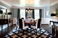Nice black and white dining room.