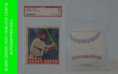 Bobby Doerr (HOF) 1948 Leaf Card PSA EX5 & Autograped Ball