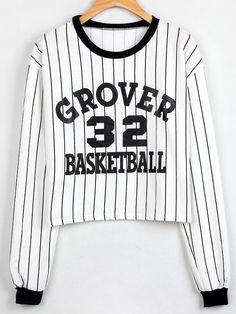 Sweatshirt mit vertikalen Streifen und Buchstaben Druck-weiß und schwarz 15.51