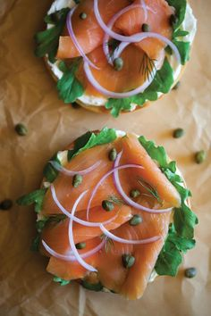Lox (smoked salmon), cream cheese, lettuce, onions and capers on a bagel = just perfect. by Teri Lyn Fisher