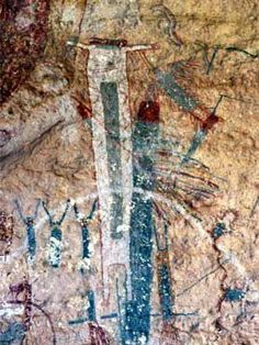The White Shaman is one of the best known examples of Pecos River style pictographs. (Texas happens to have one of the largest and most diverse examples of rock art in the New World. Pecos River, The World Is Flat, Legends And Myths, Hiking Tours, Archaeological Discoveries, Ancient Mysteries, Unexplained Mysteries, T Art, Art Sites