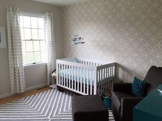 Modern, Neutral Nursery featuring a stenciled accent wall - Project Nursery