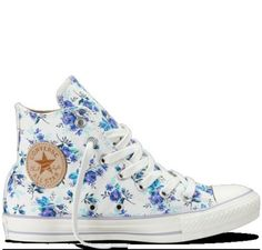 shoes converse converses converse high tops high converse white blue flowers blue flowers