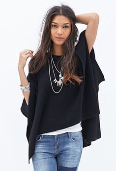 Popcorn Knit Cape | FOREVER21 - 2000083875