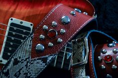BadAxe Straps Custom Leather Guitar Straps Legacy Oxblood Red leather Python and Garnets www.badaxestraps.com