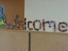 Welcome sign made with puzzle pieces Preschool Puzzles, Puzzle Pieces, Classroom Ideas, Sign, Teaching, Handmade, Hand Made, Classroom Setup, Signs