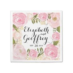 Modern Vintage Pink Floral Personalized Wedding Paper Napkin