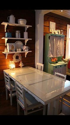 A dinning table made with and old door.