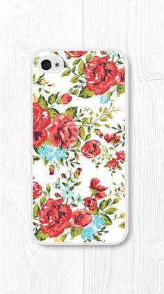 Red Floral iPhone Case Floral iPhone 4 Case Floral