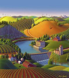 Stone City West Poster by Robin Moline. All posters are professionally printed, packaged, and shipped within 3 - 4 business days. Choose from multiple sizes and hundreds of frame and mat options. Fantasy Landscape, Landscape Art, Fields In Arts, Stone City, Naive Art, Pictures To Paint, Acrylic Art, Stone Painting, American Artists