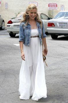 white maxi dress + denim jacket + belt = cute maternity outfit