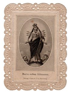 Maria with The Angels Vintage Lace Holy Card German