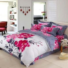 Bedding - raspberry and grey