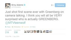 YESHHHH!!! I can't wait to see who Greenburg is! #Teen Wolf