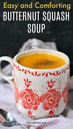 This soup is so creamy and cozy! Dairy free butternut squash soup is the perfect recipe for autumn! #dairyfree #soup #butternutsquash