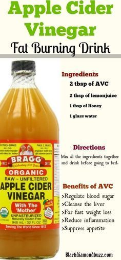 Apple Cider Vinegar for Weight Loss in 1 Week: how do you take apple cider vinegar to lose weight? Here are the recipes you need for fat burning and liver cleansing. Ingredients 2 tbsp of AVC 2 tbsp of lemon juice 1 tbsp of Honey 1 glass water Directions