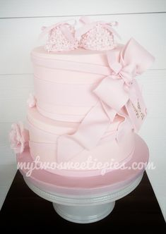 Pink baptism with bows