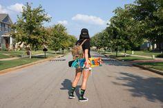 summer, summer uniform, summer style, summer to remember, skate girl, skateboard, smile, sun, street style, vans of the wall, snapback, cut offs, huf socks, weed socks, chucks, all star converse, American summer, @thatgirlju