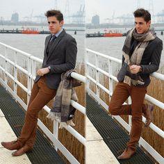 Zara Grey Blazer, Zara Blue Shirt, United Colors Of Benetton Scarf, H&M Brown Velvet Pants
