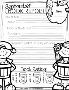 1st Grade Fantabulous: September Book Reports Freebie