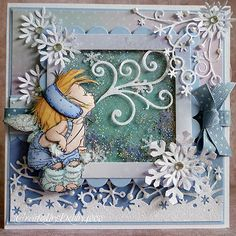Gorgeous Mo Manning shaker card.  Winter fairy