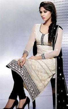 Picture of Glorious Cream Color Indian Salwar Suit Online Shopping