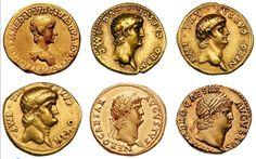 a general progression of nero's portraiture on roman aurei, 54-68 CE