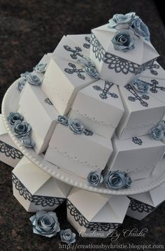 Slice box christening cake - could be used at a wedding also