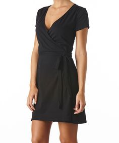 Women's Black Wrap Dress, the perfect not too low, not too high V-neck dress!  Made with Fair Trade Certified organic cotton!  #FairTrade #organic #apparel