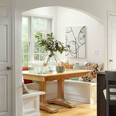Looking at updating your breakfast nook? Here are some of our favorite ideas: http://www.bhg.com/kitchen/eat-in-kitchen/breakfast-nook-ideas/?socsrc=bhgpin111113breakfastbooth&page=1