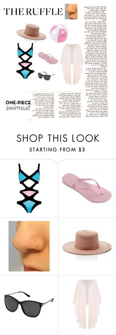 """""""THE RUFFLE"""" by fashiondesigner-rivaa ❤ liked on Polyvore featuring Barneys New York, Agent Provocateur, Havaianas, Janessa Leone, SunCloud Polarized Optics, Shubette and ruffledswimwear"""
