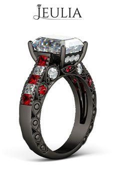 3.0CT Created White Sapphire Rhodium Plated with Emerald Cut Women's Ring #jeulia