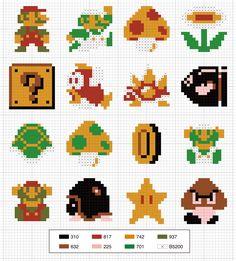 Beaded Cross Stitch, Cross Stitch Embroidery, Cross Stitch Patterns, Perler Bead Templates, Perler Patterns, Fuse Beads, Perler Beads, Mario Crochet, Stitch Games