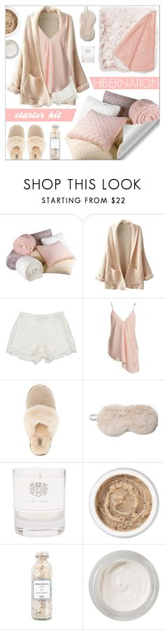 """""""Hibernation Starter Kit"""" by gpatricia ❤ liked on Polyvore featuring WithChic, Nordstrom Rack, Sans Souci, UGG, Fabulous-Furs, Law of Sleep, Aromatherapy Associates and Chantecaille"""