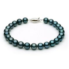 14k White Gold 6-6.5mm Black Akoya Saltwater Cultured Pearl Bracelet AA+ Quality, 6 Inch Unique Pearl. $69.95
