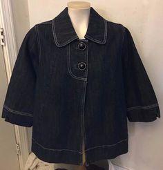 Venezia Womens Denim 3/4 Sleeve  2 Button Jean Jacket Size 14/16  #Venezia #JeanJacket #Casual