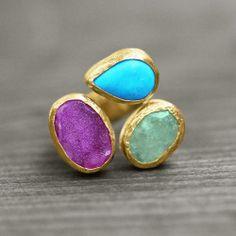 OOAKRI275 ooak unikat druzy druse gemstone ring by German jewelry label koshikira kk